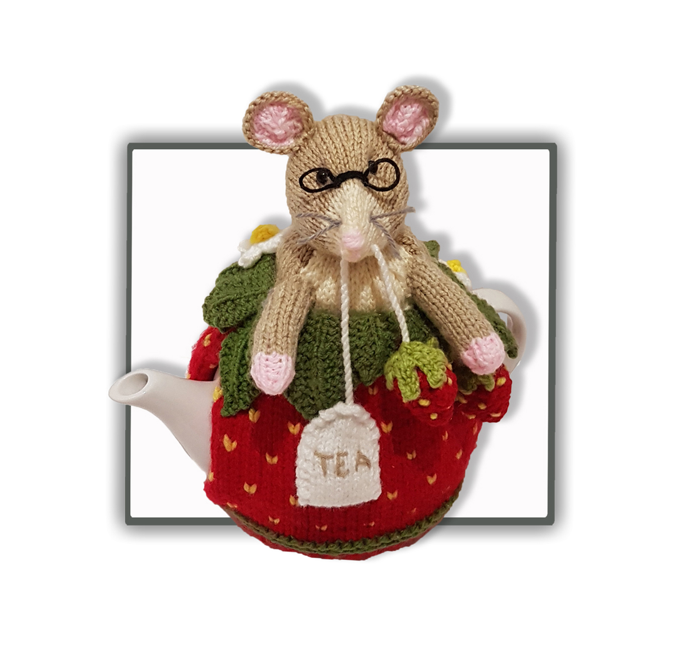 Tea Cosy Knitting Patterns Easy Strawberry Dormouse Tea Cosy Pdf Knitting Pattern
