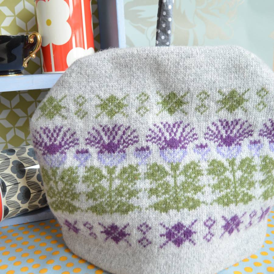 Tea Cosy Patterns To Knit Scottish Thistle Knitted Tea Cosy