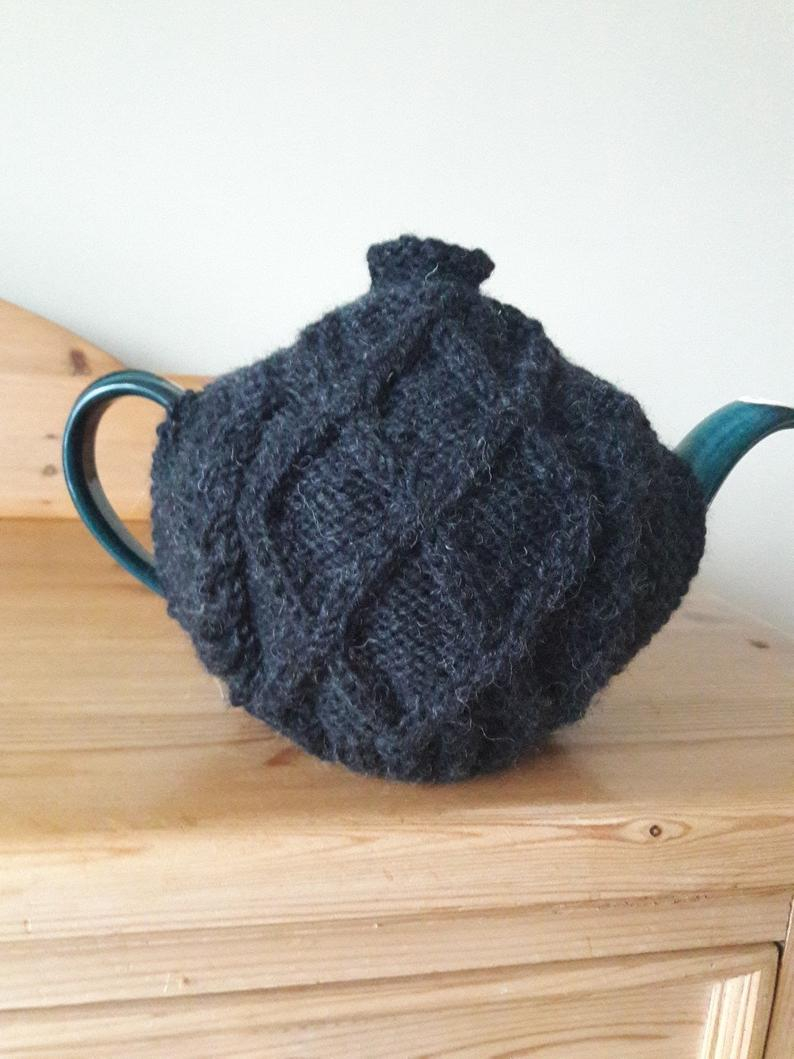 Tea Cozy Patterns To Knit Charcoal Aran Pattern Knitted Tea Cosy Almost Black Diamond Aran Hand Knitted Tea Cozy Teapot Cosy Gift For Nan Tea Lovers Gift Irish