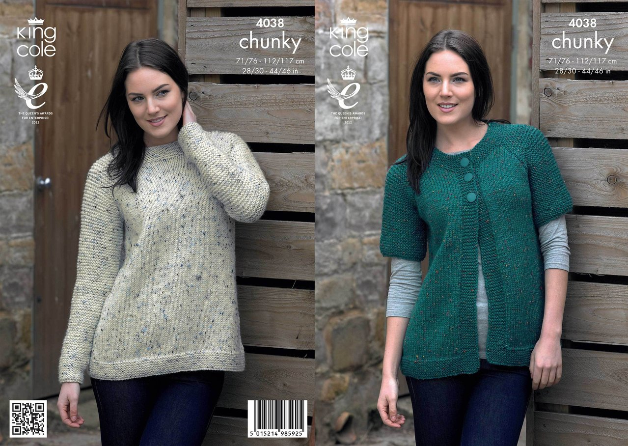 Tweed Knitting Patterns King Cole 4038 Knitting Pattern Cardigan And Sweater In Chunky Tweed