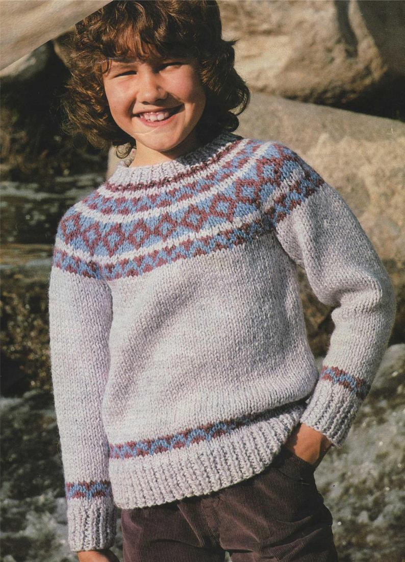 Yoke Knitting Pattern Fair Isle Yoke Sweater Knitting Pattern Pdf Boys Or Girls 26 28 30 And 32 Inch Chest Jumper Vintage Knitting Patterns For Children