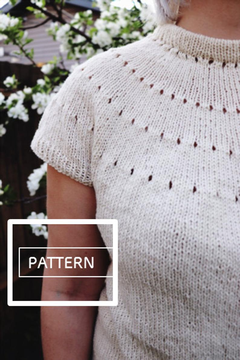 Yoke Knitting Pattern Knitting Pattern Easy Eyelet Yoke Lite Sweater Pattern Beginner Yoke Top Beginner Yoke Knit Top Down Knit Tshirt Knit Shirt Diy