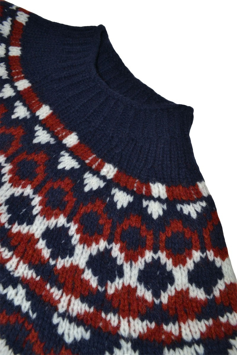 Yoke Knitting Pattern Mens Fair Isle Brodgar Yoke Jumper Navy Blue