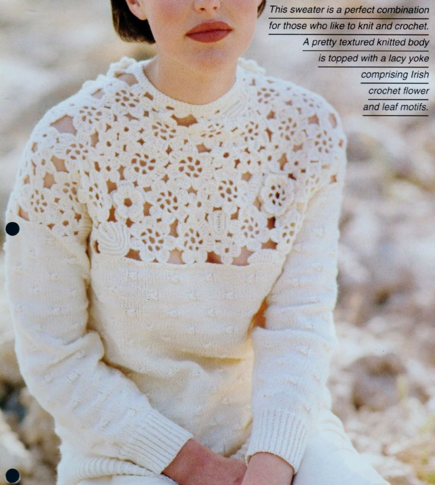Yoke Knitting Pattern Original Vintage Crochet Knitting Pattern Ladies Flower Lace Yoke Sweater Jumper 76 102 Cm Dk