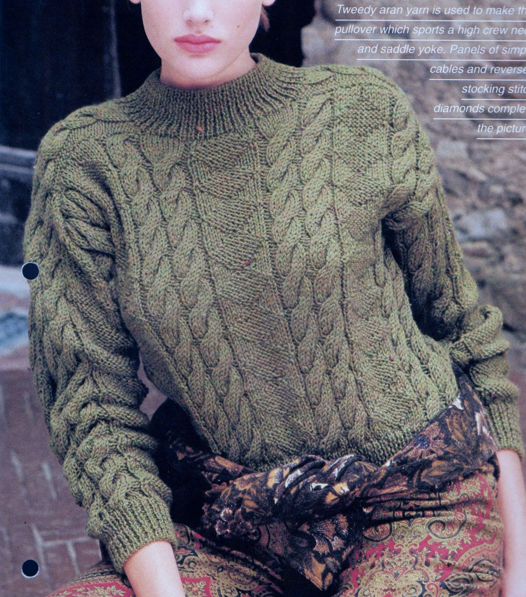 Yoke Knitting Pattern Pdf Digital Download Vintage Knitting Pattern Ladies Aran Sweater With Saddle Yoke And Cable Panels Bust 76 101 Cm