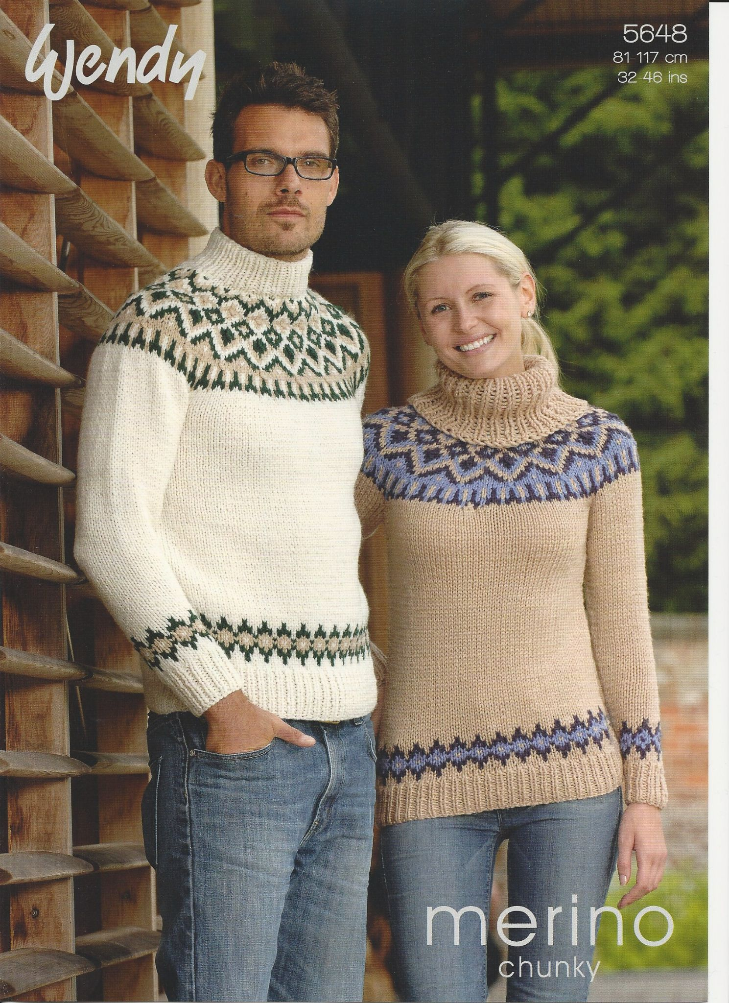 Yoke Knitting Pattern Wendy Mens Ladies His Hers Fairisle Yoke Sweaters Chunky Knitting Pattern 5648