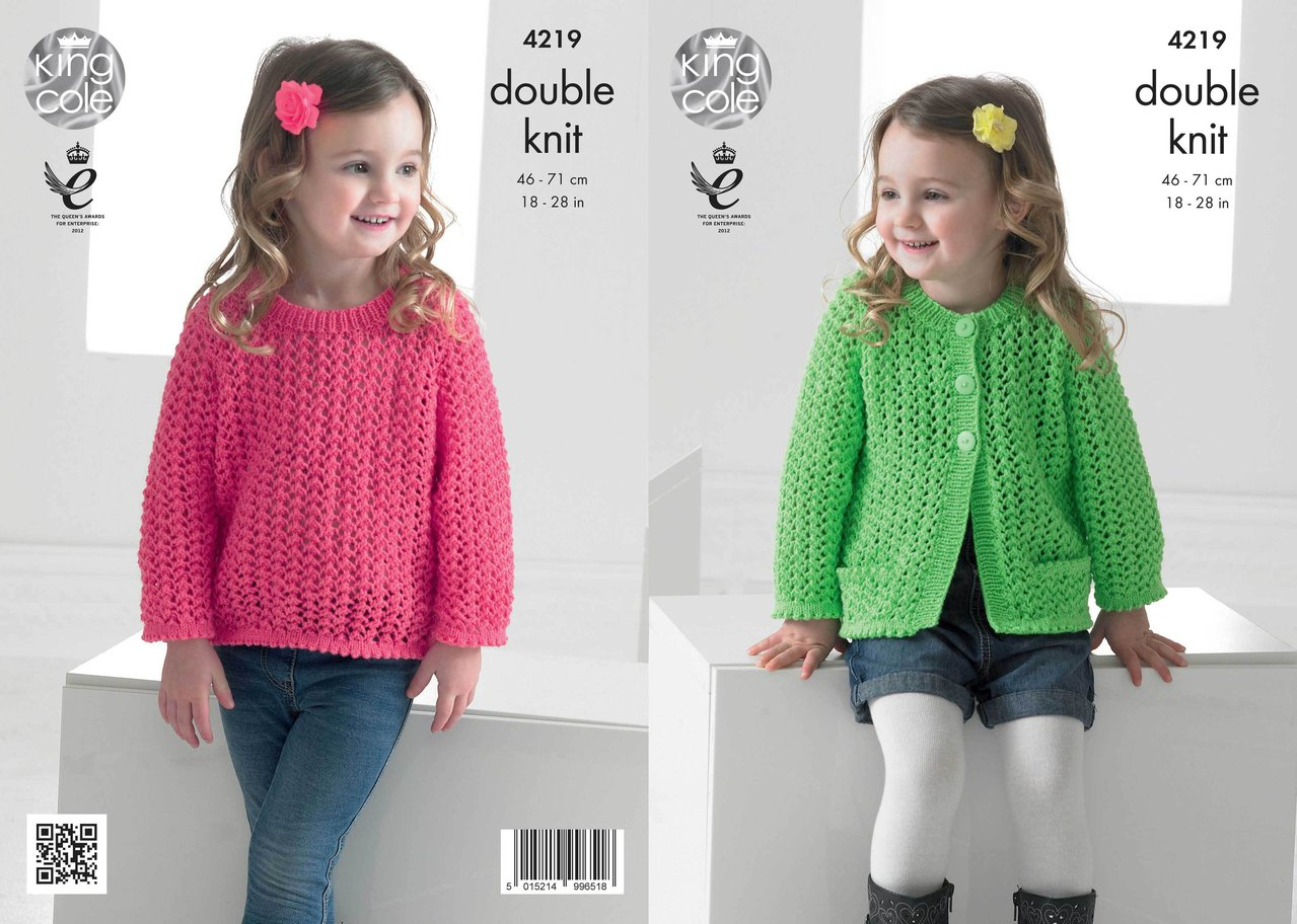Cardigan Sweater Knitting Pattern King Cole 4219 Knitting Pattern Girls Lace Cardigan And Sweater In King Cole Big Value Ba Dk