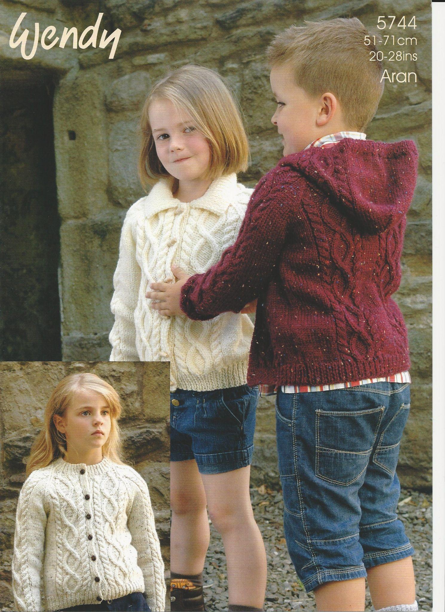 Childrens Aran Knitting Patterns Wendy Childrens Jacket Aran Knitting Pattern 5744