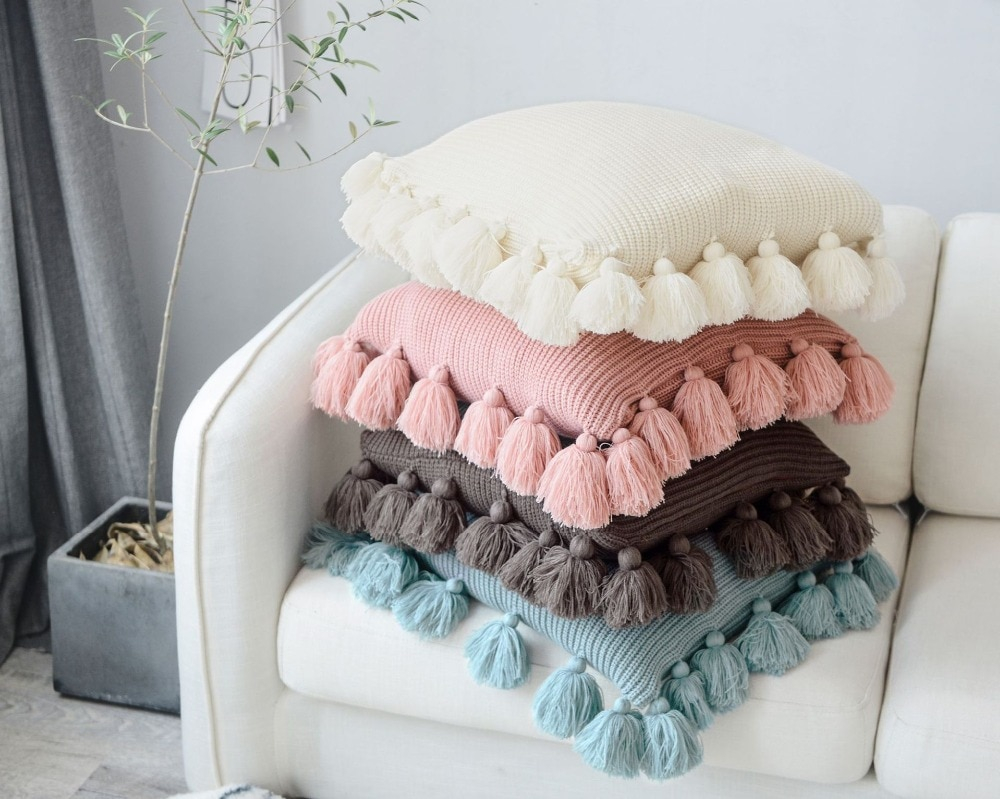 Free Cushion Cover Knitting Pattern Us 1999 Free Shipping Elegant Nordic Solid Color Knitted Cushion Cover Home Cafe Hotel Decor Sofa Lounge Pillow Case With Fringe In Cushion Cover