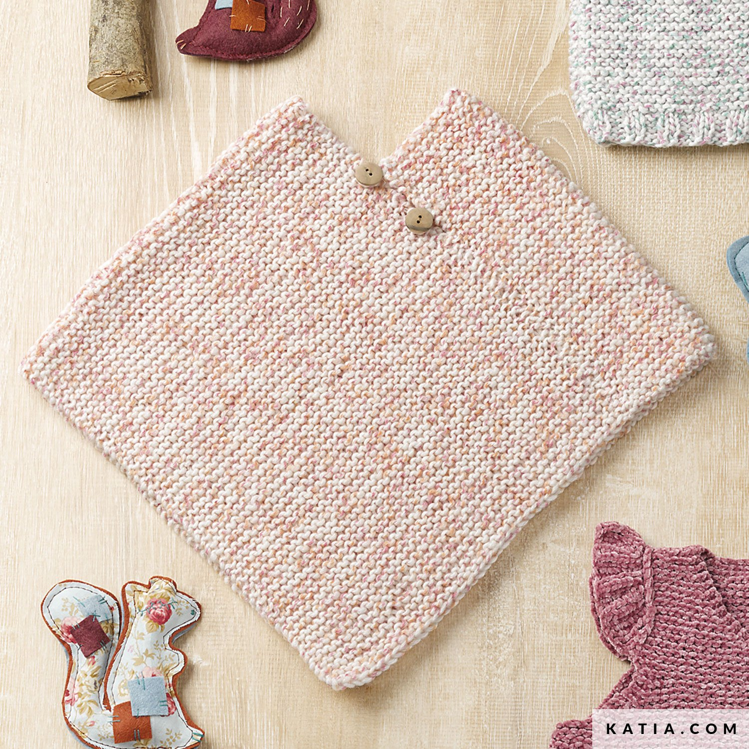 Free Easy Baby Poncho Knitting Pattern Poncho Ba Autumn Winter Models Patterns Katia