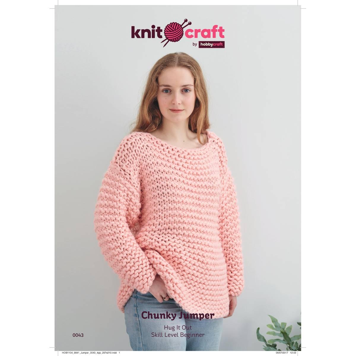 Knit Jumper Pattern Knitcraft Hug It Out Chunky Jumper Digital Pattern 0043 Hobcraft