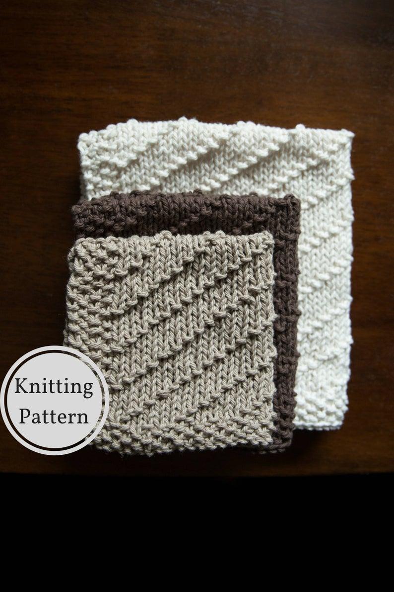 Knit Washcloth Patterns Washcloth Dishcloth Pattern Easy Knit Washcloth Pattern Easy Dishcloth Knitting Pattern Beginner Knitting Pattern Home Knitting Pat