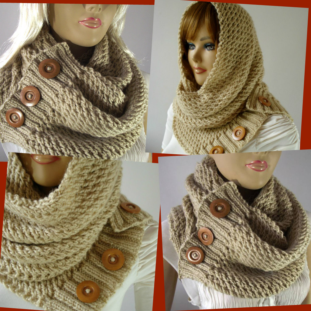 Knitted Hood Scarf Pattern Loulou Hooded Scarf Knitting Pattern Liliacraftparty