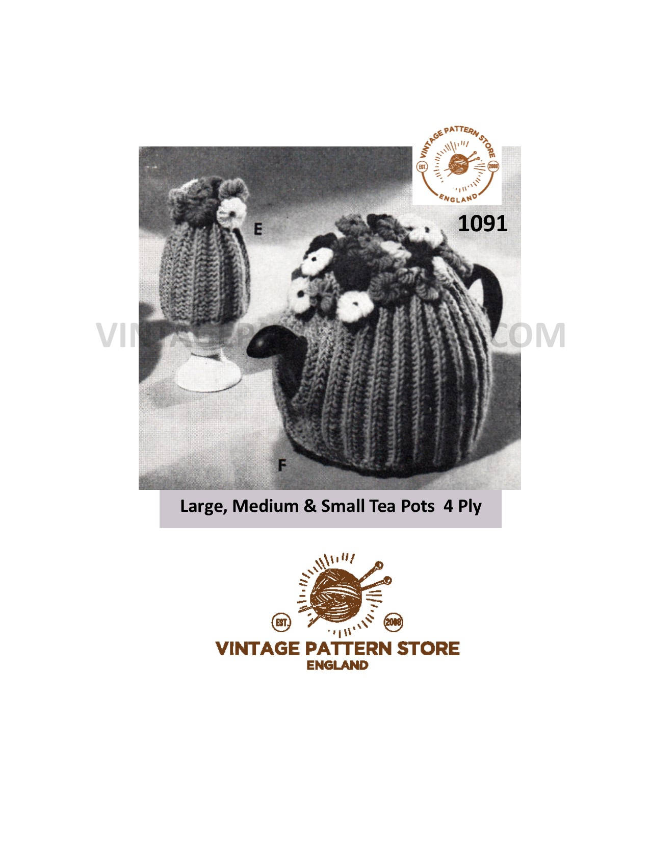 Knitted Tea Cosy Pattern Easy 50s Easy To Knit Tea Cosy Knitting Pattern 4 Ply Ribbed Floral Tea