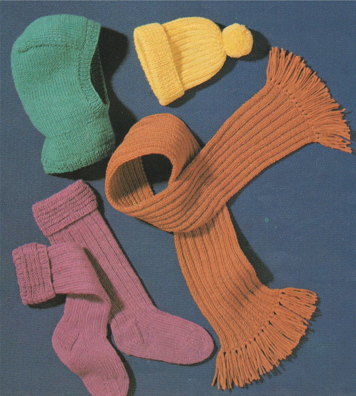 Knitting Pattern Balaclava Childrens Balaclava Bobble Hat Socks And Scarf Knitting Pattern
