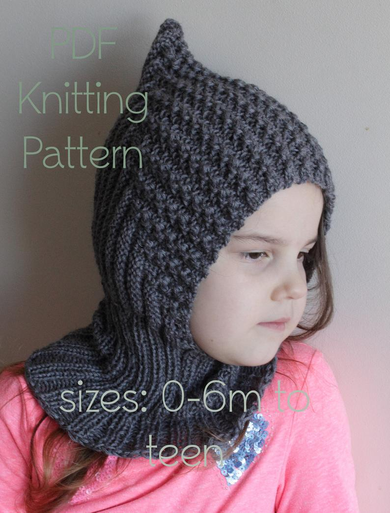 Knitting Pattern Balaclava Downloadable Pdf Pattern Balaclava Pixie Elf Hat Hooded Scarf Knitting Pattern For Dk Newborn To Teen Knit Hat Tutorial Child Balaclava