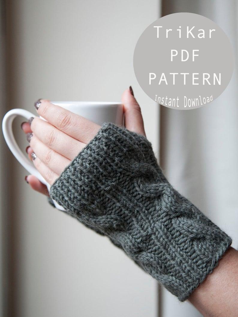 Knitting Pattern For Gloves Knitting Pattern Cable Fingerless Gloves Knitting Pattern Trikar Pattern Knit Pattern Dyi Knitting Pattern