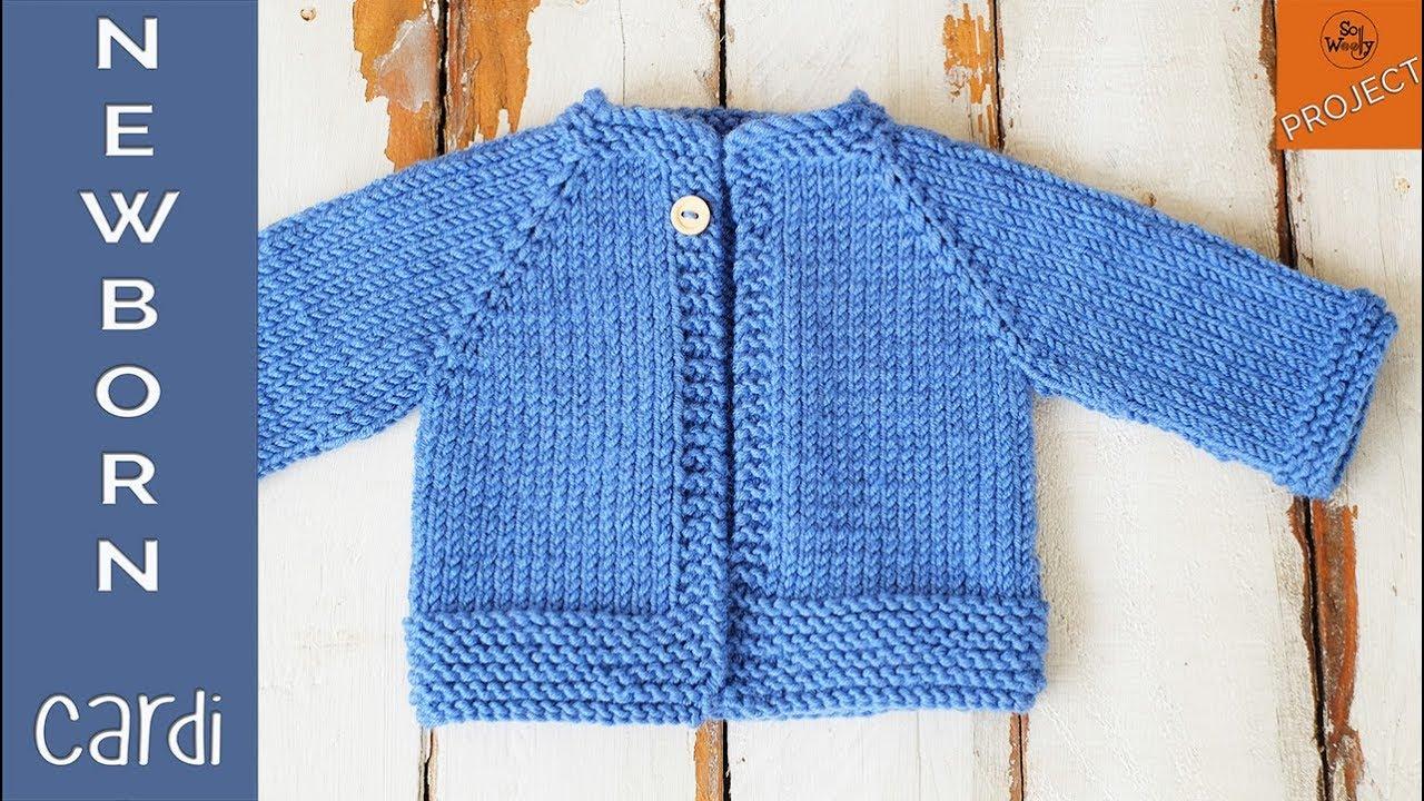 Knitting Patterns Newborn How To Knit A Newborn Cardigan For Beginners Part 1