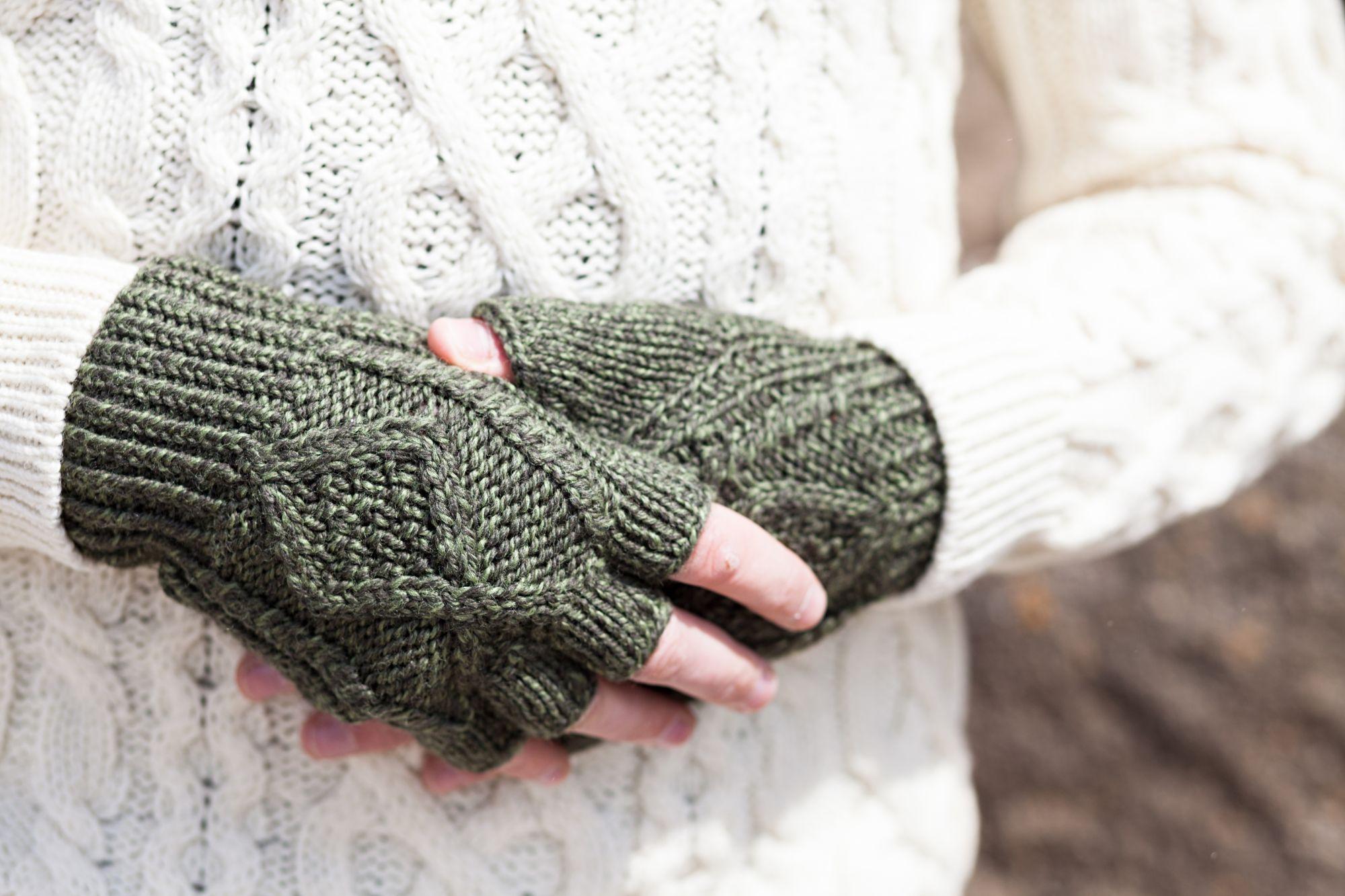 Mens Fingerless Gloves Knit Pattern Hand Knit Fingerless Gloves