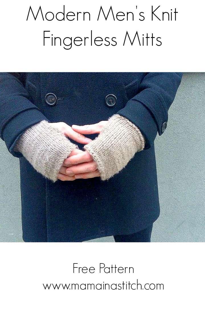 Mens Fingerless Gloves Knit Pattern Mens Modern Tweed Knit Fingerless Mitts Pattern Mama In A Stitch