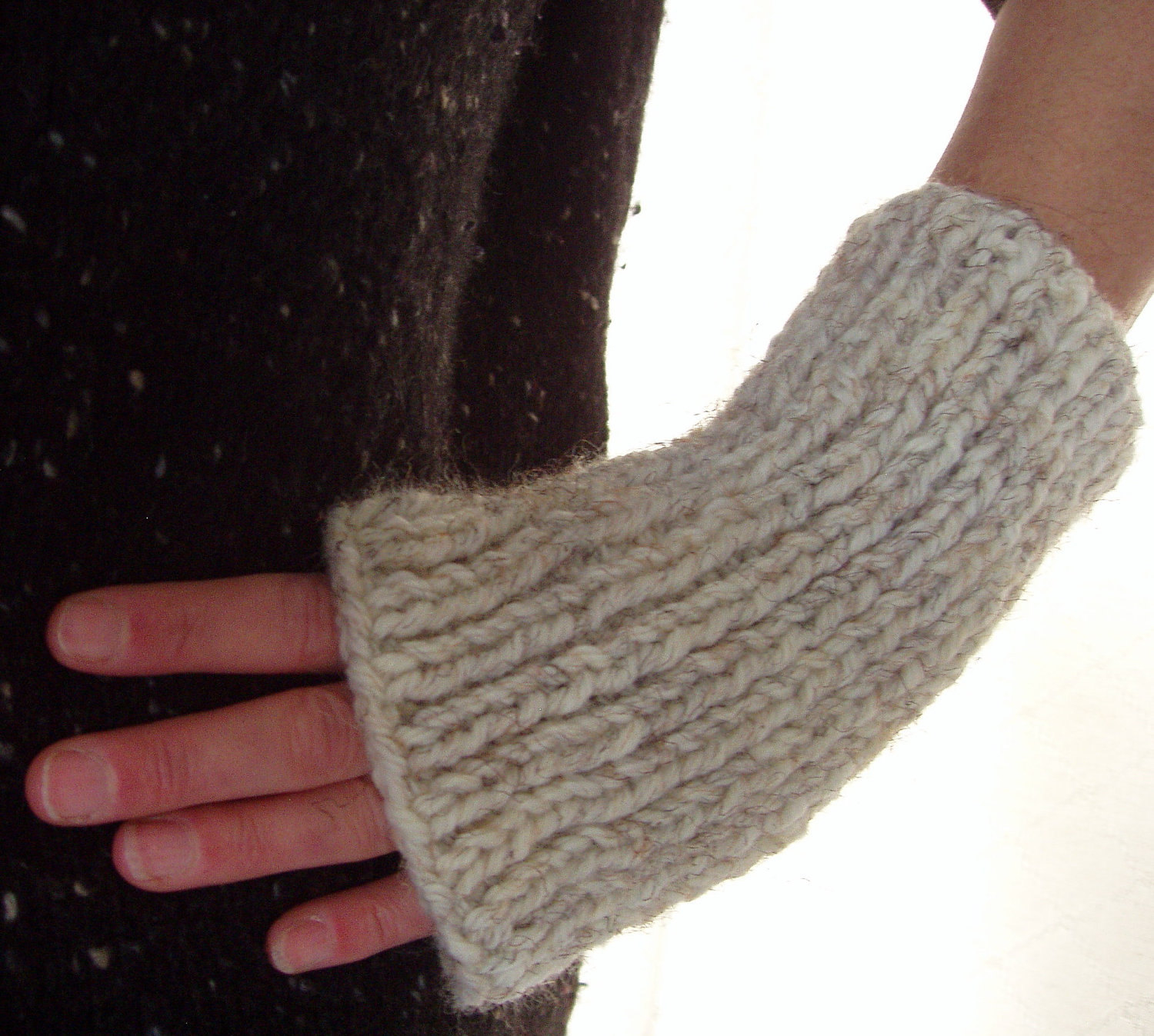 Mens Fingerless Gloves Knit Pattern Quick Knit Gloves Mens Fingerless Gloves Knitting Pattern Easy Woolen Glove Simple Chunky Knit Gloves Gift For Men Father Giftdara Gloves