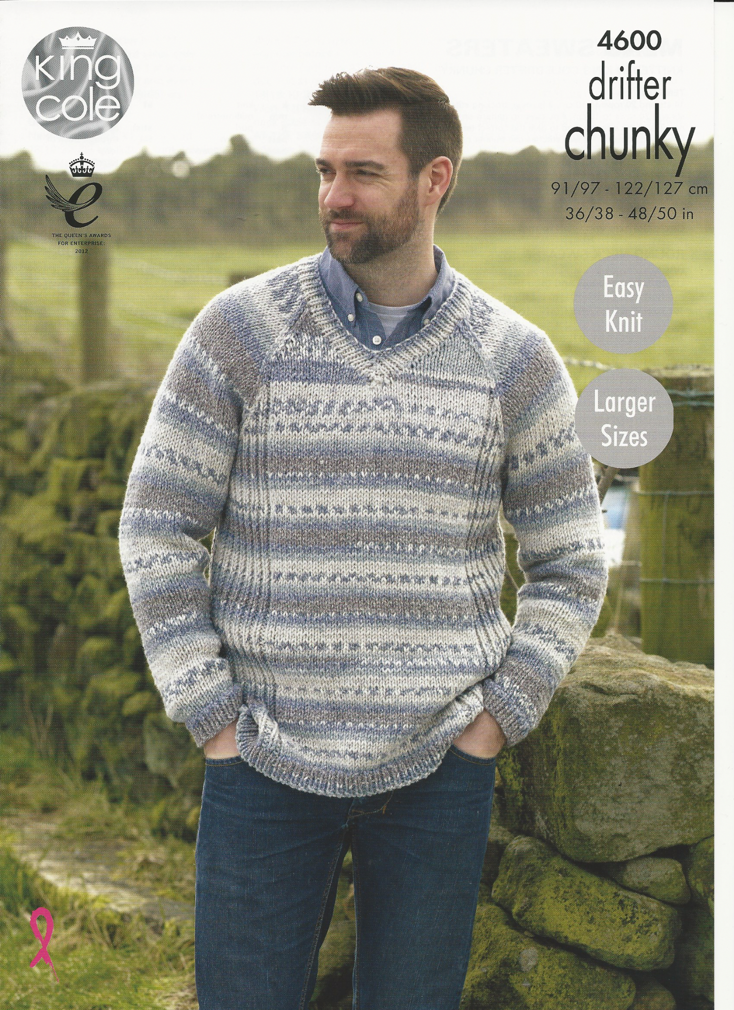 Mens Knit Patterns King Cole Mens Sweaters Knitting Pattern In Drifter Chunky 4600
