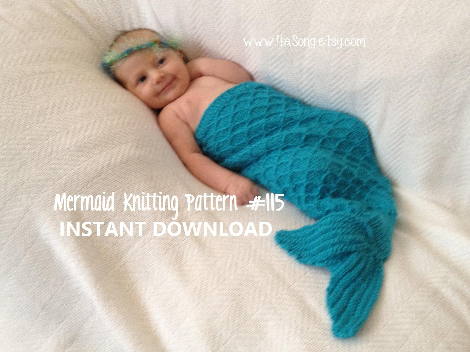 Mermaid Cocoon Knitting Pattern Mermaid Tail Cocoon Knitting Pattern Charming Newborn Photo Prop Pdf Number 115 Instant Download 45000 Patterns Sold