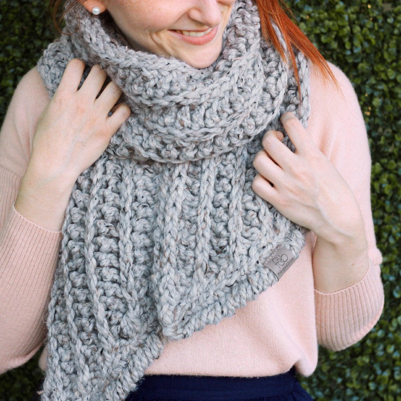 Open Knit Scarf Pattern Fern Open Ended Scarf Crochet Chunky Knit Colour Earl Grey