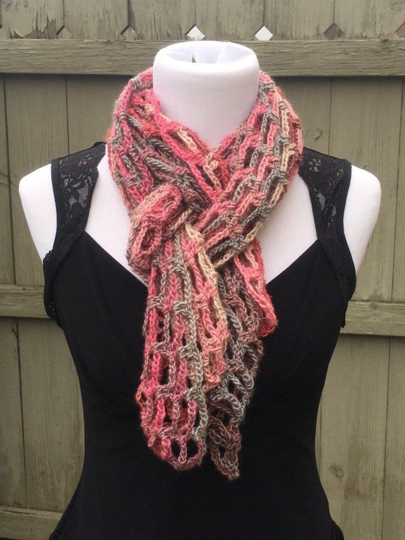 Open Knit Scarf Pattern Multi Color Knit Scarf Pink Handmade Crochet Scarf Open Weave Crochet Scarf Red Heart Unforgettable Yarn Lacey Scarf Lightweight Scarf