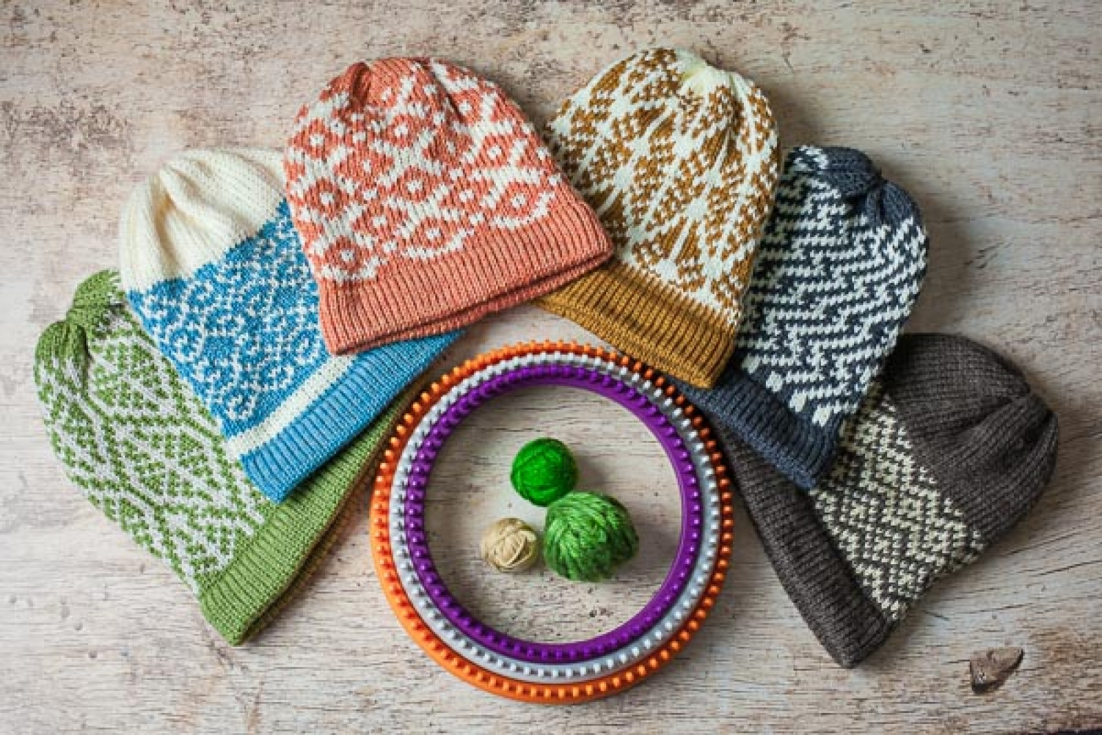 Round Loom Knitting Patterns Download Loom Knit Fair Isle Hat Pattern Collection Six Fair Isle Hat Loom Knitting Patterns Included Pdf Download