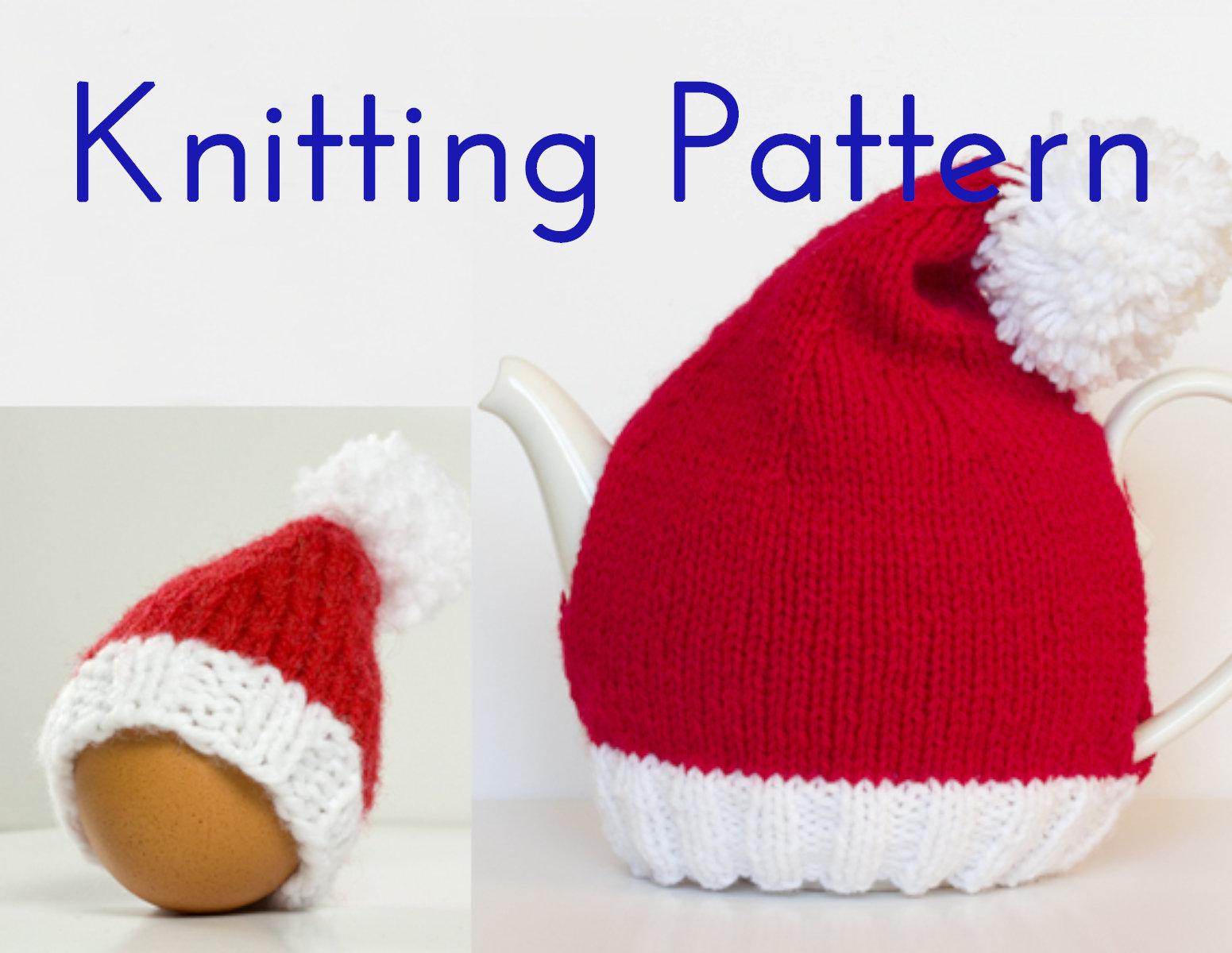 Santa Hat Knitting Pattern Pdf Knitting Pattern Santa Hat Tea Egg Cozies Diy Knit Tea Cosy Christmas Table Decoration Knitting Instructions Aranworsted Weight