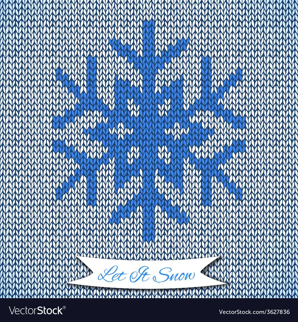 Snowflake Pattern Knitting Seamless Pattern With Knitted Snowflake