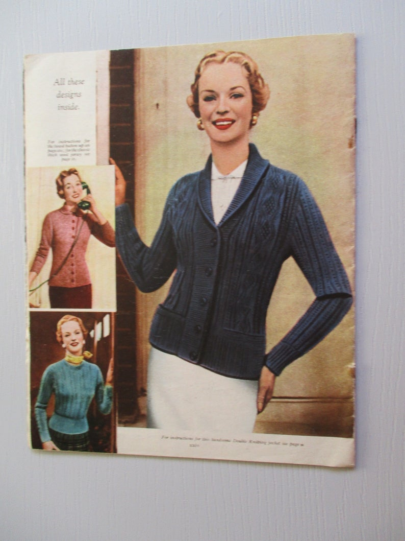 Woman Weekly Knitting Patterns 1950s Magazine Vintage Knitting Pattern Womans Weekly Knitted Cardigans And Jerseys Womans Weekly Double Knitting Book Woman And Home