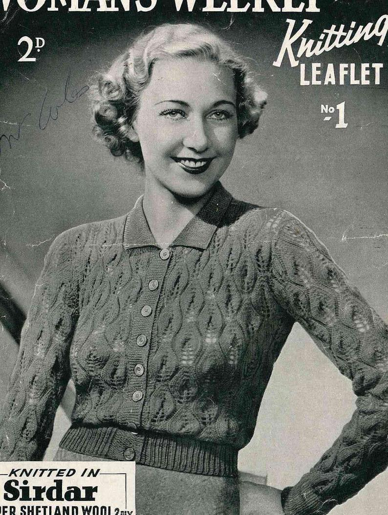 Woman Weekly Knitting Patterns Early 1930s Knitted Lace Cardigan Womans Weekly No1 303