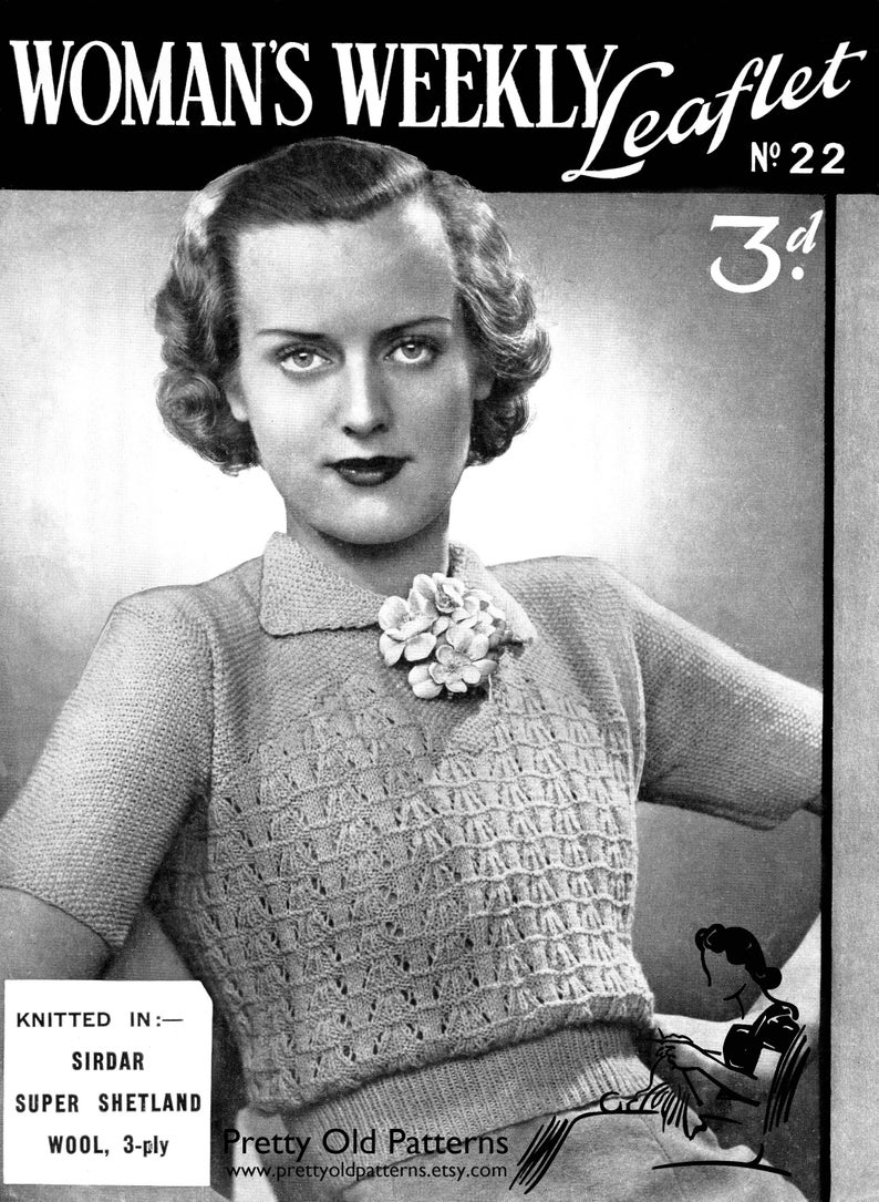 Woman Weekly Knitting Patterns Ladies 1930s Lace And Moss Stitch Blouse 40 Bust Womans Weekly 22 Plus Size Vintage Knitting Pattern Instant Download