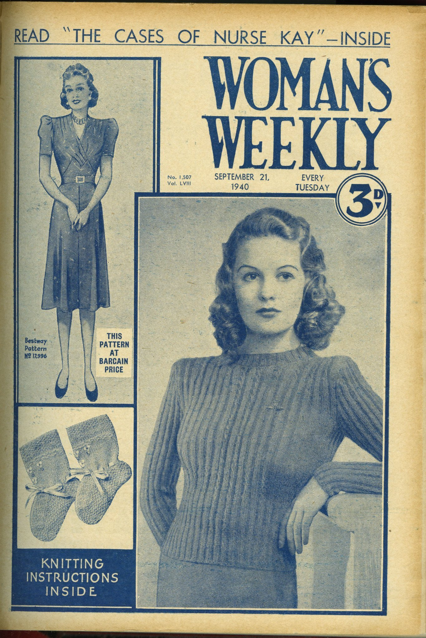 Woman Weekly Knitting Patterns Original Vintage 1940 Womens Ribbed Jumper Knitting Pattern