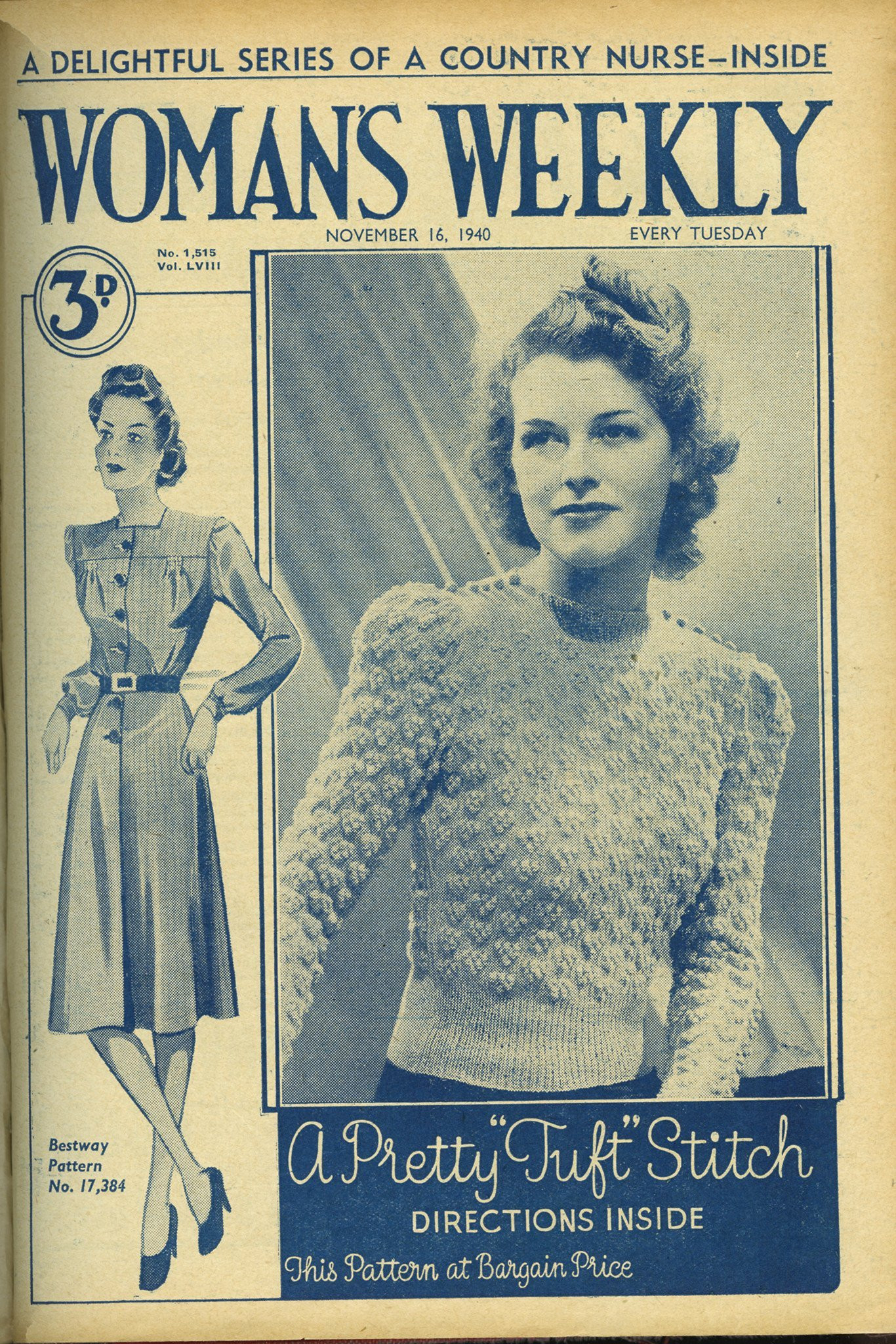 Woman Weekly Knitting Patterns Original Vintage 1940 Womens Tuft Stitch Jumper Knitting Pattern