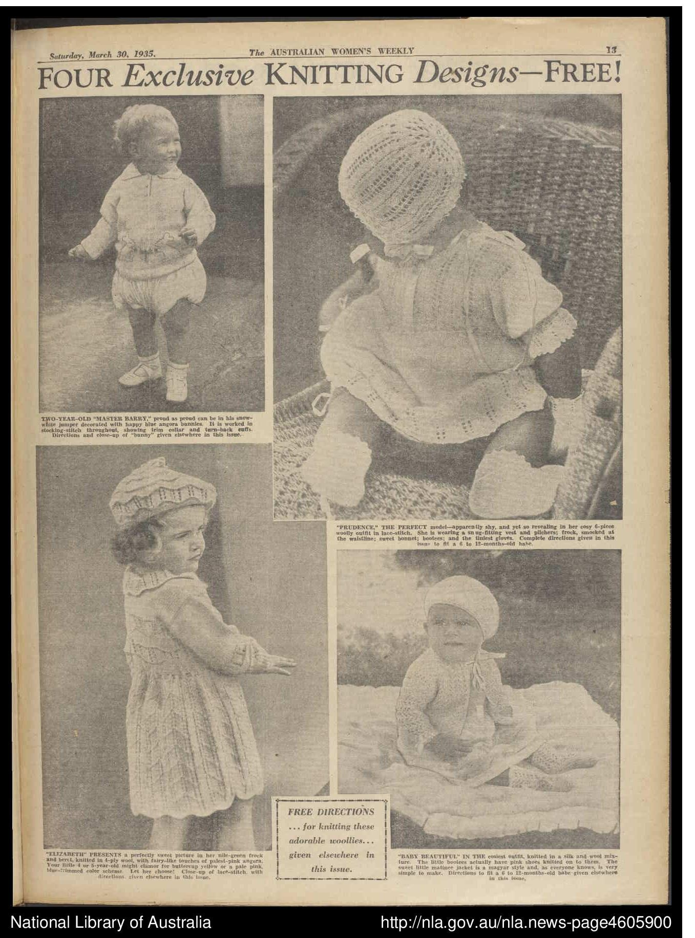 Woman Weekly Knitting Patterns Vintage Historic Australian Antique Woman S Weekly Magazine 1935