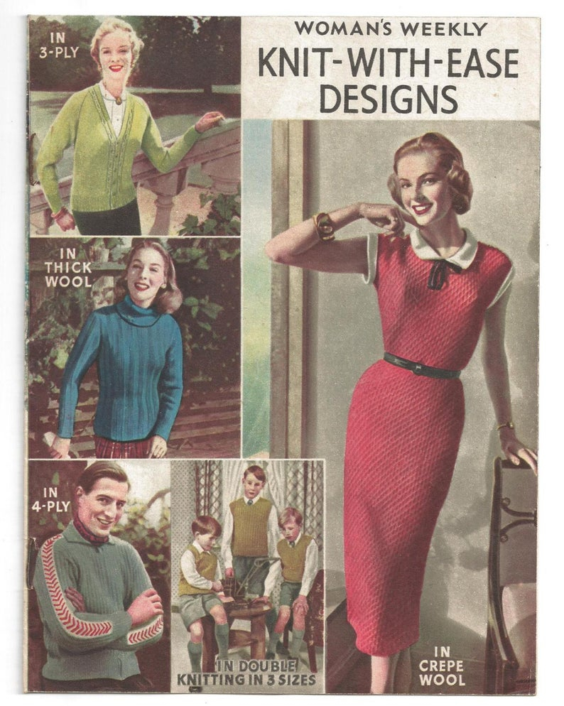 Woman Weekly Knitting Patterns Womens Weekly Knit With Designs 11 Page Booklet 50s 60s Knitting Patterns